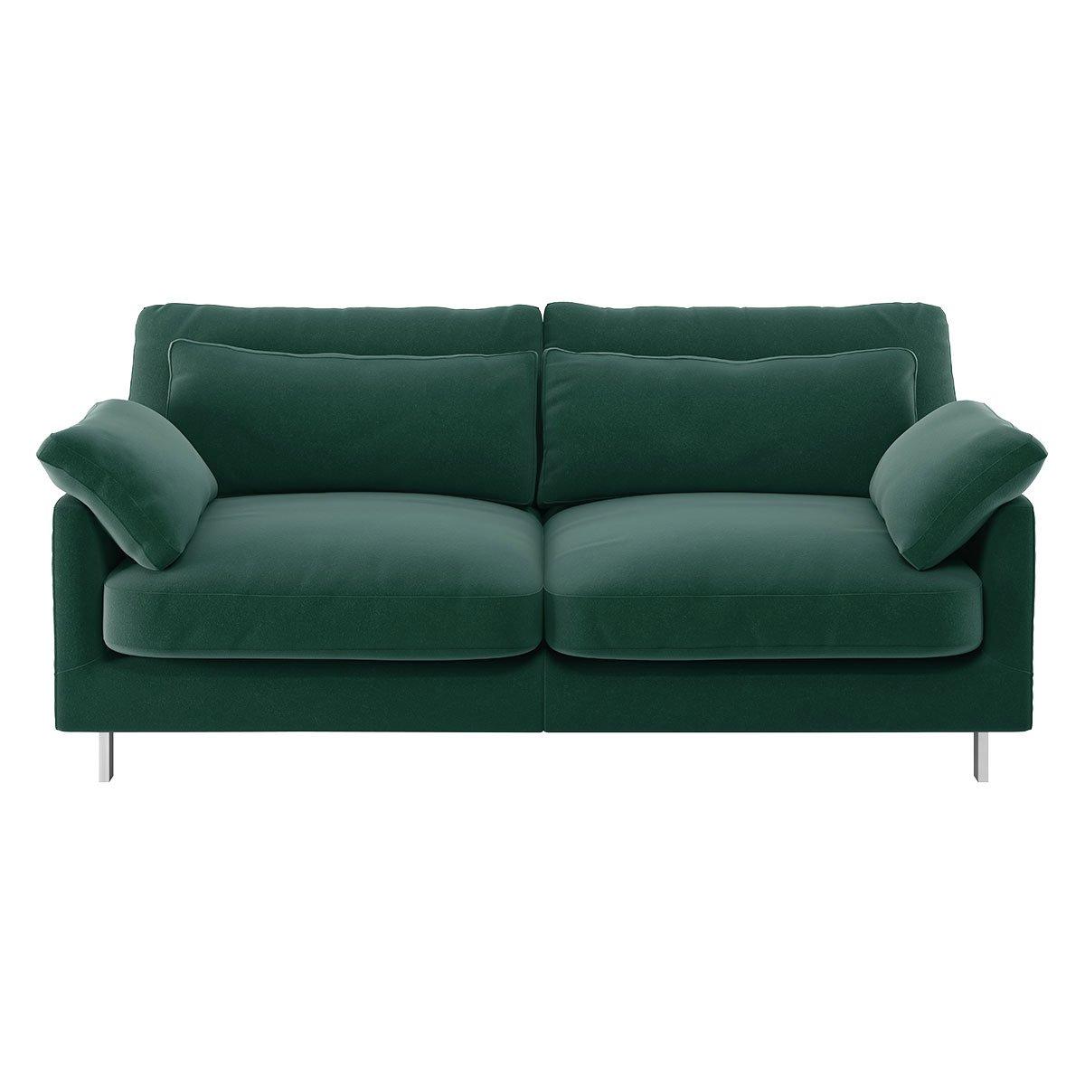 Habitat Cuscino 2 Seater Velvet Sofa - Emerald Green