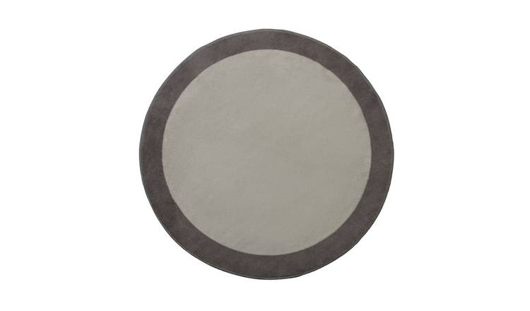 Habitat Statement Border Circle Rug - 100x100cm - Grey