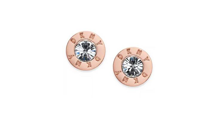 DKNY Rose Gold Colour Cubic Zirconia Crystal Logo Earrings