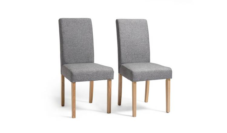 Habitat Pair of Tweed Mid Back Dining Chairs - Grey