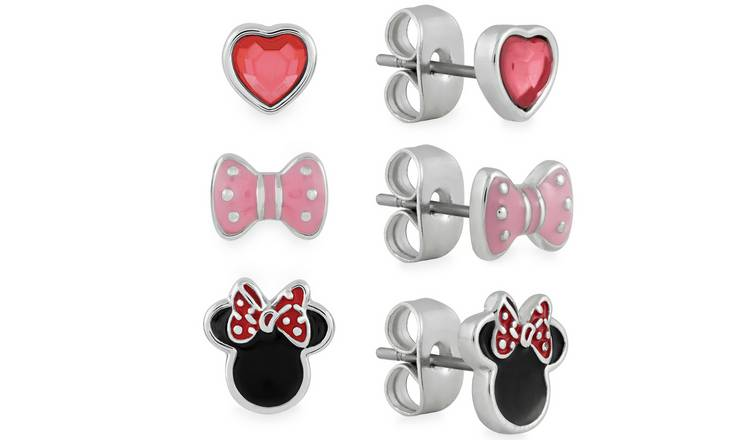 Disney Enamel Minnie Mouse Stud Earrings - Set of 3
