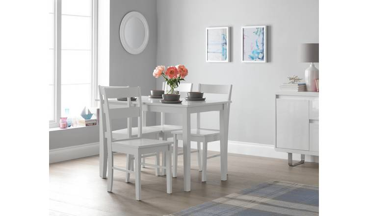 Habitat Chicago Table & 4 Chairs - White