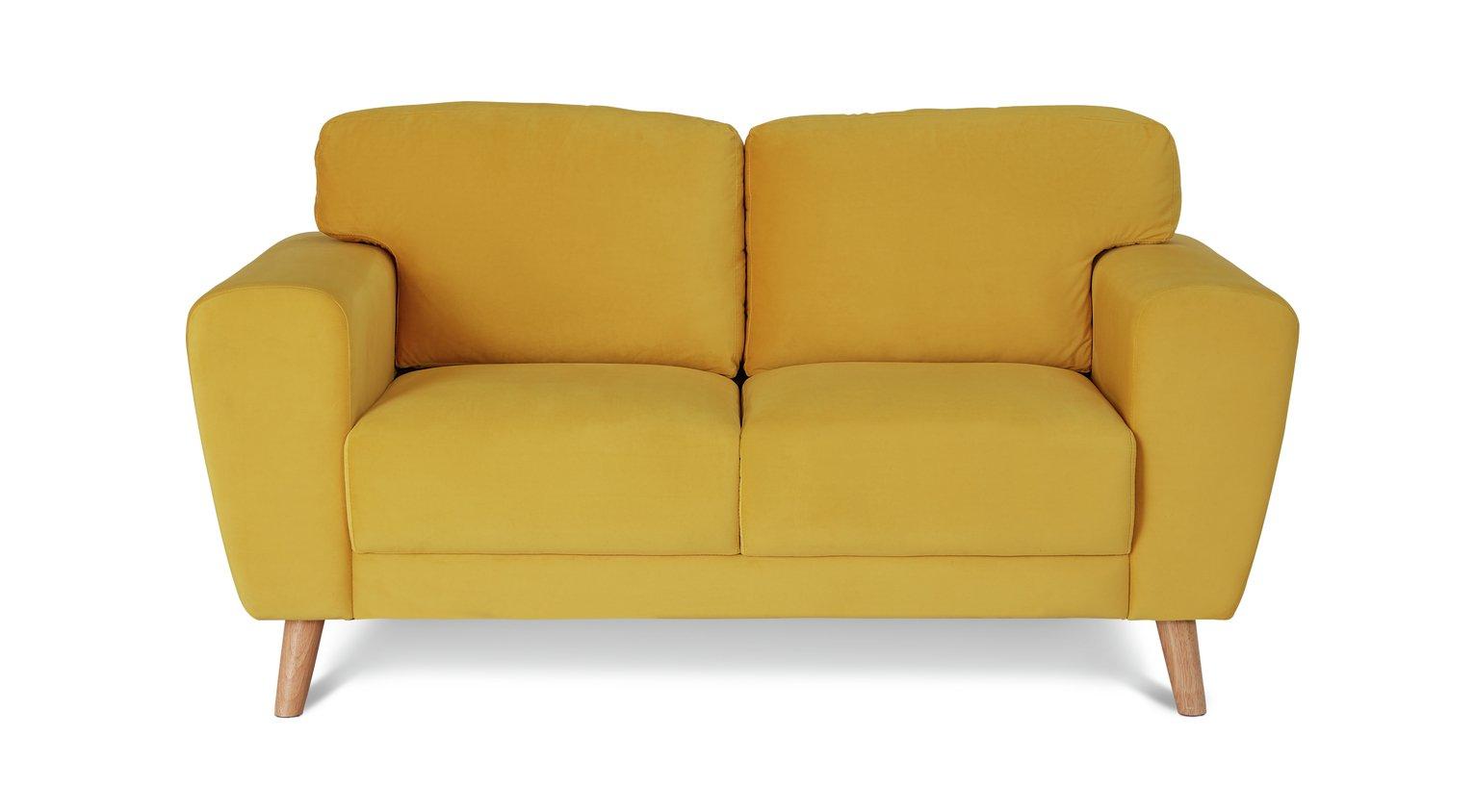 Habitat Snuggle 2 Seater Velvet Sofa - Yellow
