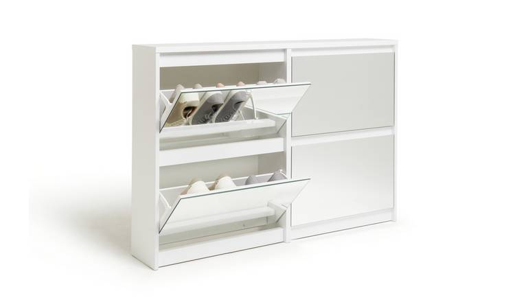 Habitat Jenson 2+2 Drawer Mirror Shoe Cabinet - White