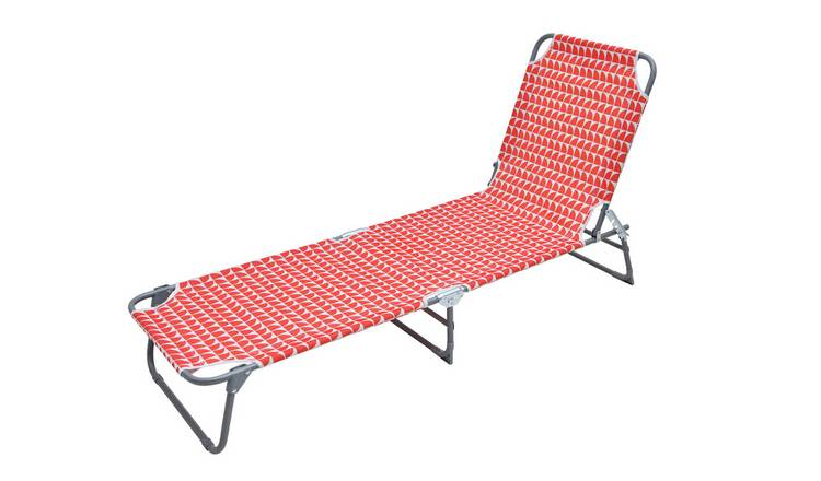 Habitat Metal Folding Sun Lounger - Geo Orange