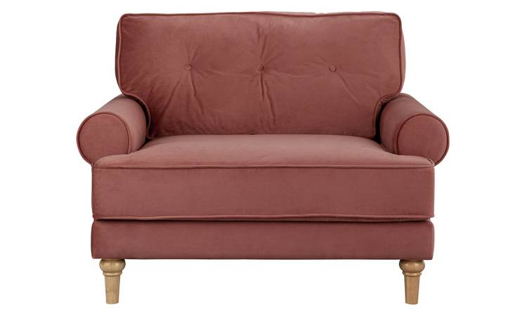 Habitat Vienna Velvet Cuddle Chair - Rose