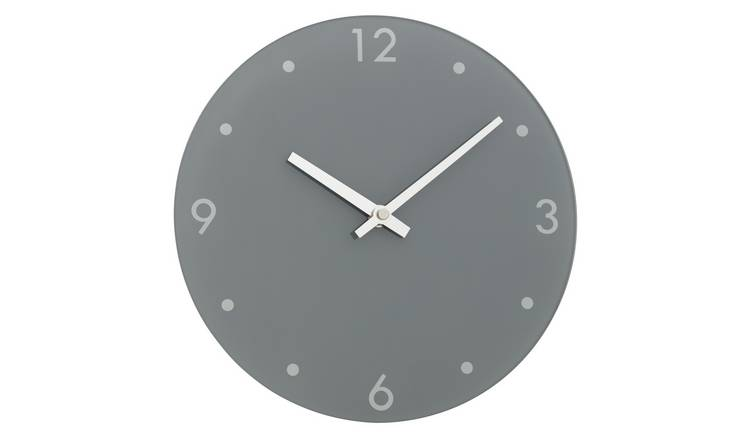 Argos Home Glass Wall Clock - Grey