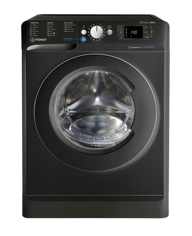 Indesit BDE861483XK 8KG/6KG 1400 Spin Washer Dryer - Black