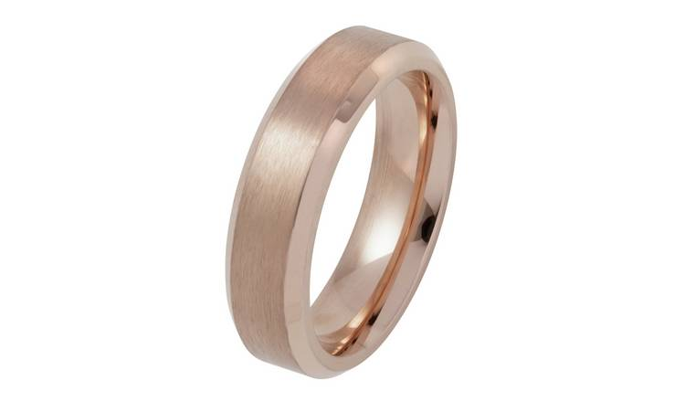 Revere Stainless Steel Rose Colour Plain Wedding Ring - X