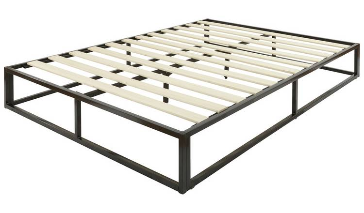 GFW Platform Metal Double Bed Frame - Black