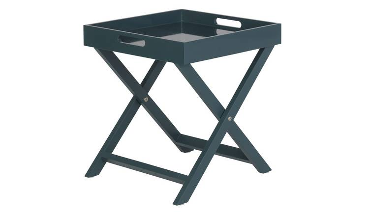 Habitat Oken Folding Side Table - Petrol Blue
