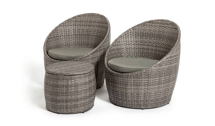 Habitat 2 Seater Wicker Barrel Bistro Set - Grey