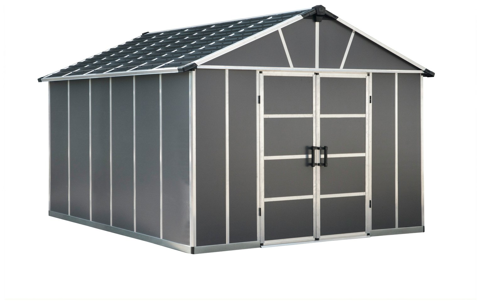Palram Yukon Plastic 11x13ft Shed with Floor - Dark Grey Best Price, Cheapest Prices