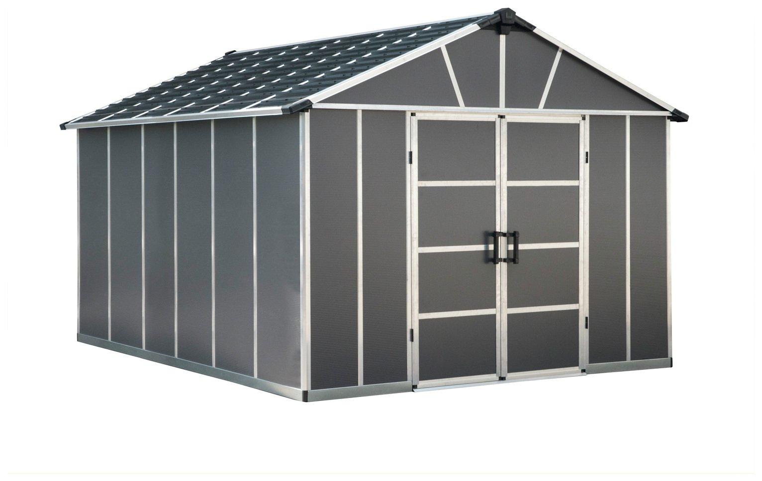 Palram Yukon Plastic 11x13ft Shed with Floor - Dark Grey