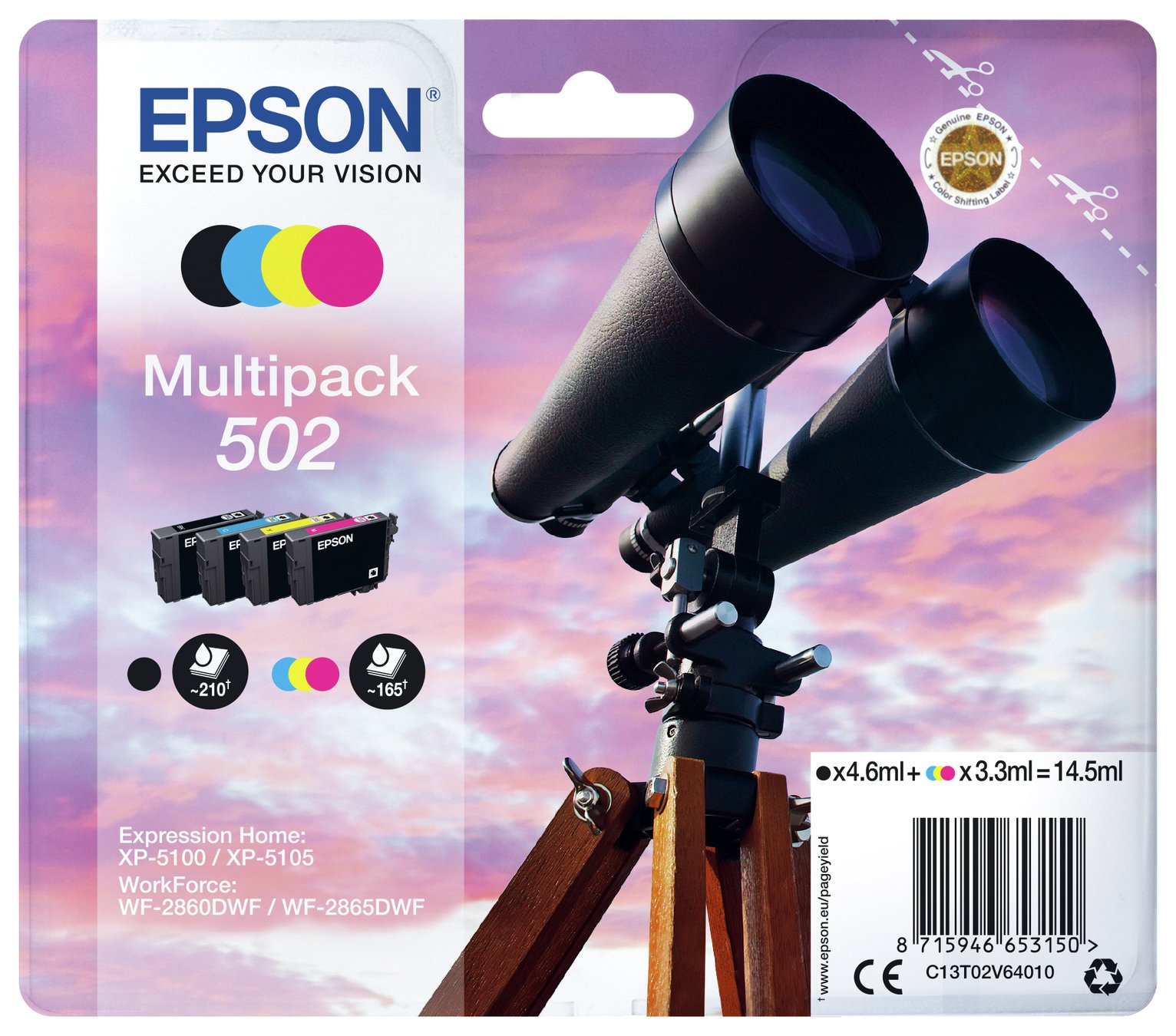 Epson 502 Binoculars Ink Cartridges - Black & Colour