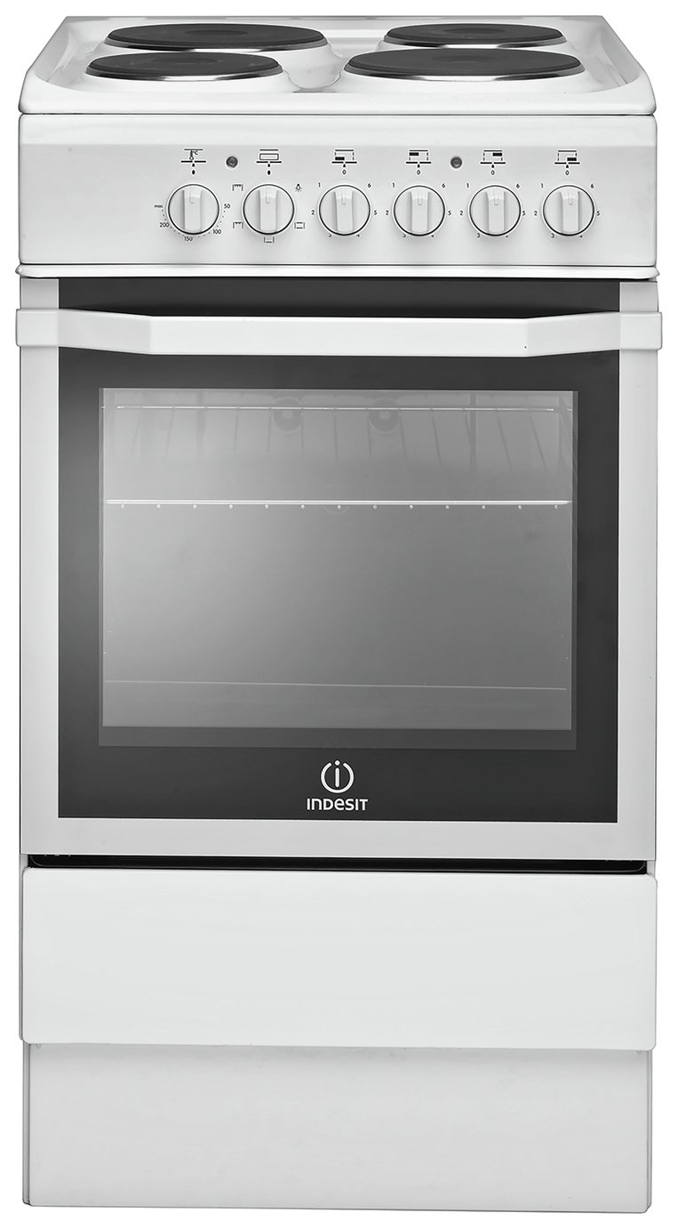 Indesit IS5E4KHW 50cm Single Oven Electric Cooker - White