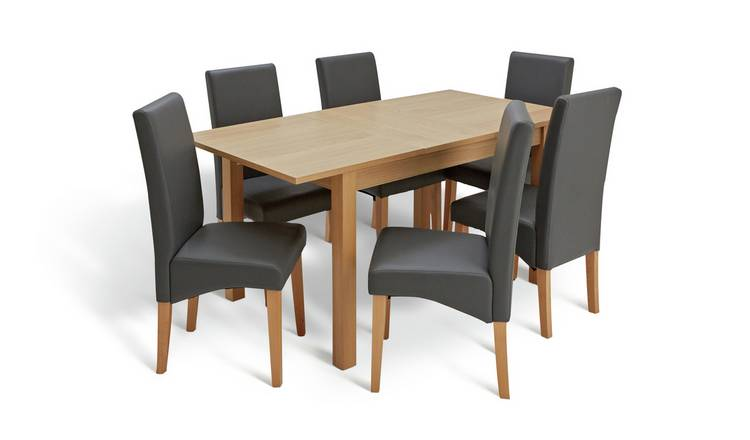 Argos Home Clifton Oak Extending Table & 6 Charcoal Chairs