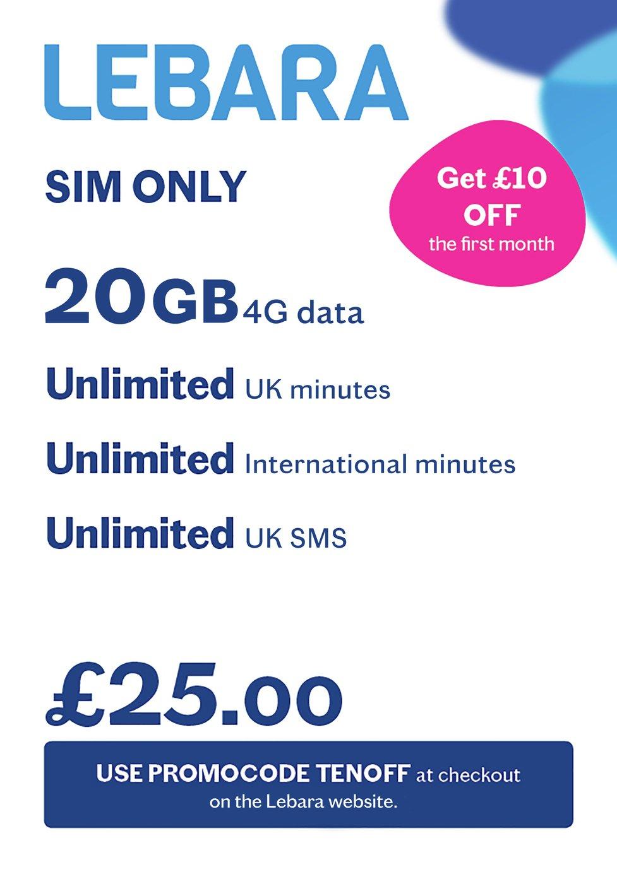 Lebara 20GB 30 Day Plan SIM Card