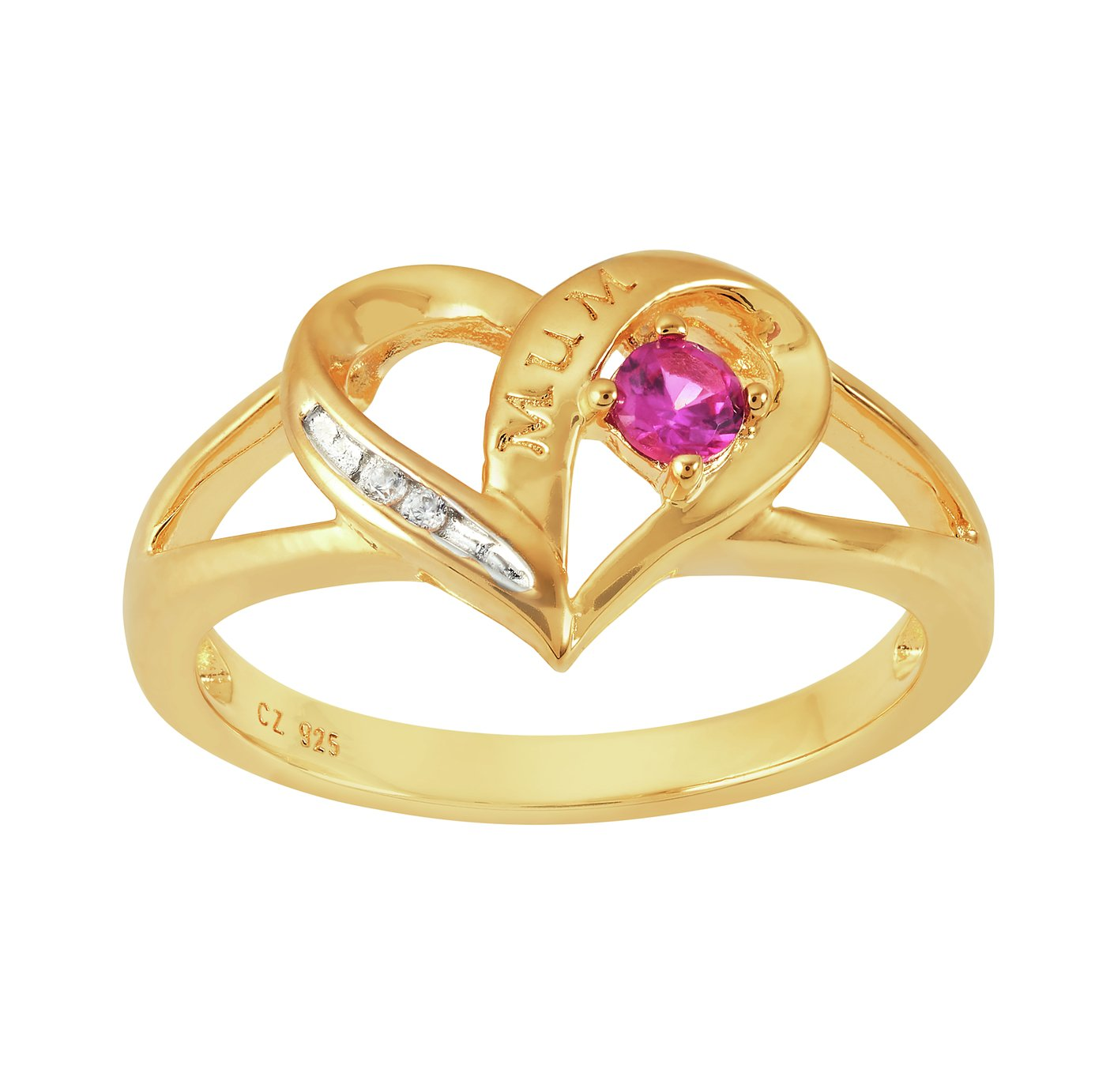 Moon & Back Gold Plated Silver Heart Shaped Stone Set Ring