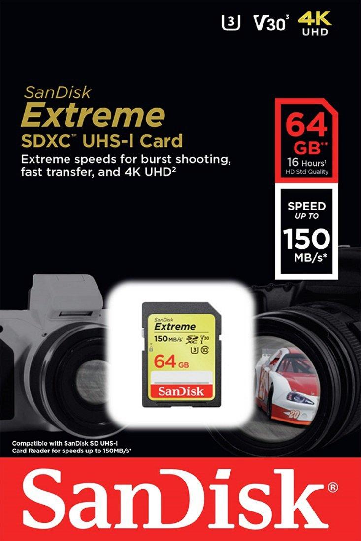 SanDisk Extreme 150MBs SDXC UHS-I Memory Card - 64GB