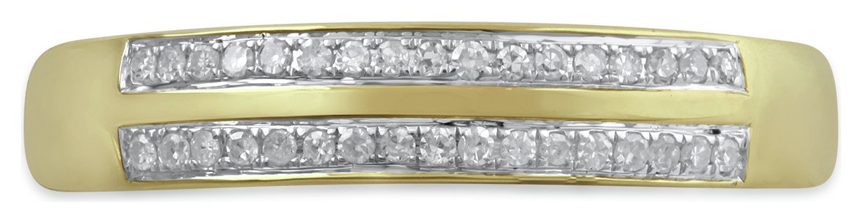 Revere 9ct Yellow Gold 0.10ct Diamond Double Row Band Ring