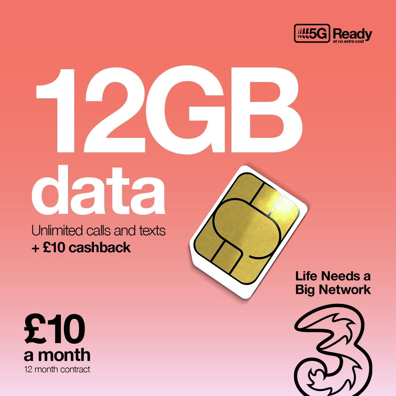 Three 12GB Data 12 Month SIM Card