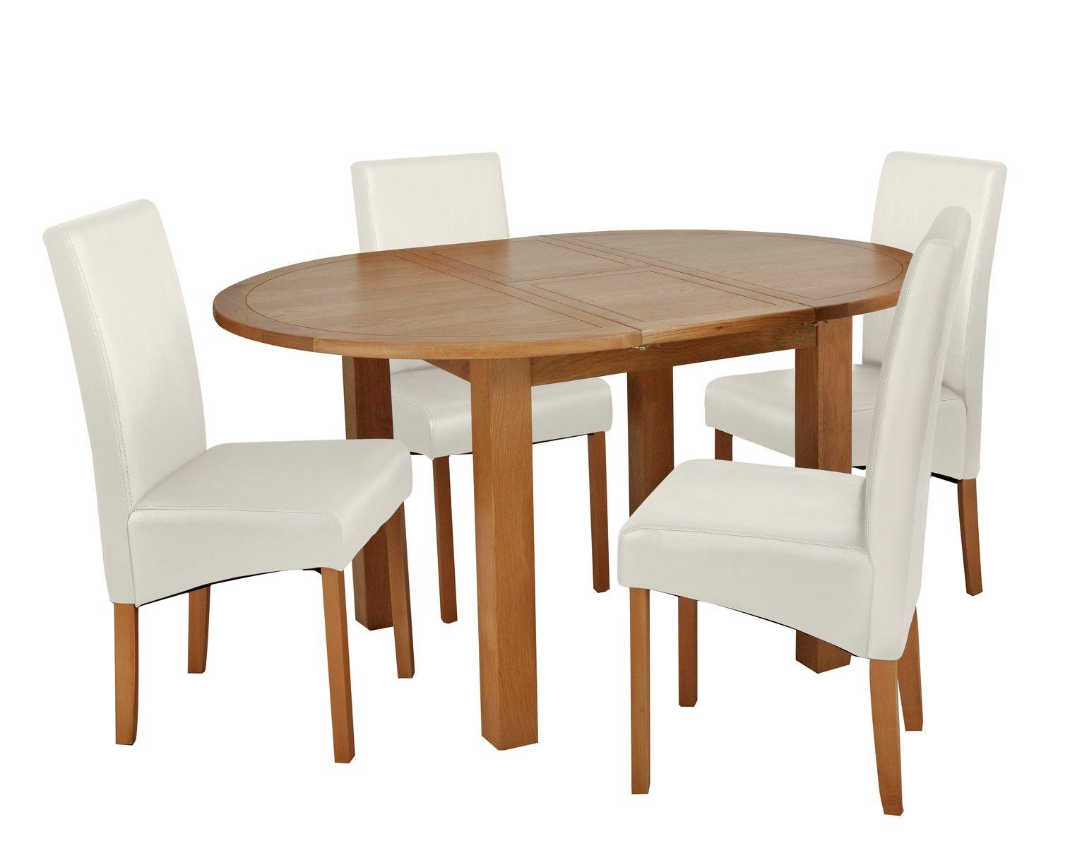 Argos Home Clifton Oak Extending Round Table & 4 Cream Chair