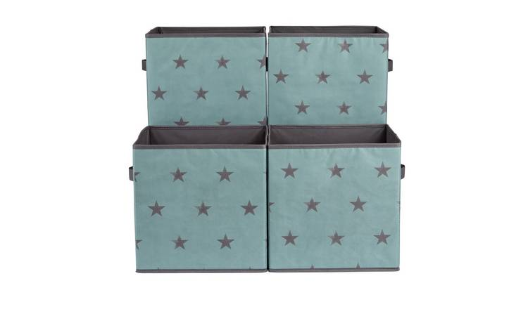 Argos Home Set of 4 Blue Star Canvas Boxes