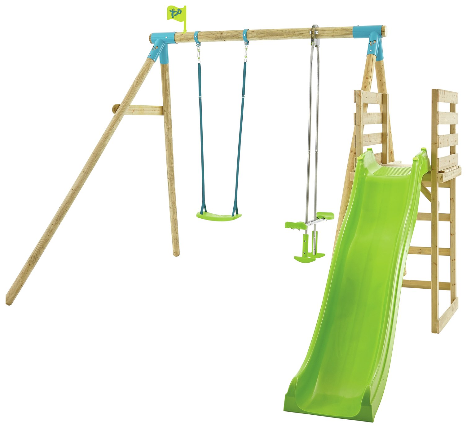 TP Kite Wood Double Swing Set With 8ft Wavy Slide