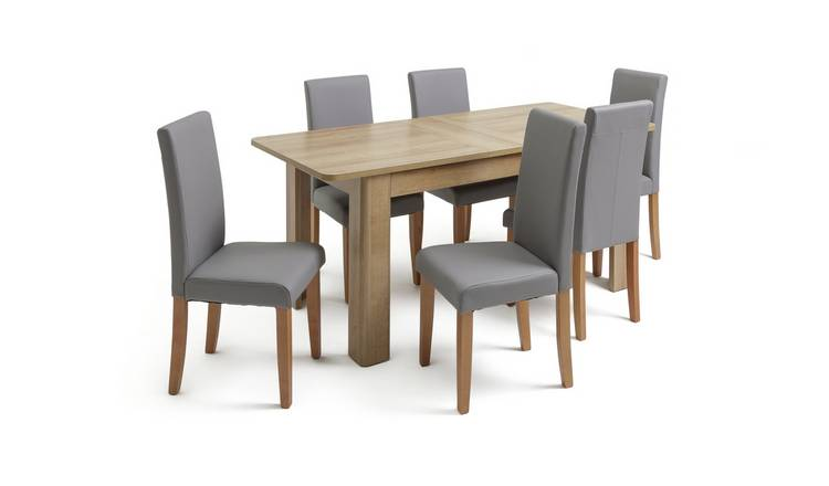 Miraculous Buy Argos Home Miami Curve Extendable Table 6 Chairs Grey Dining Table And Chair Sets Argos Interior Design Ideas Philsoteloinfo
