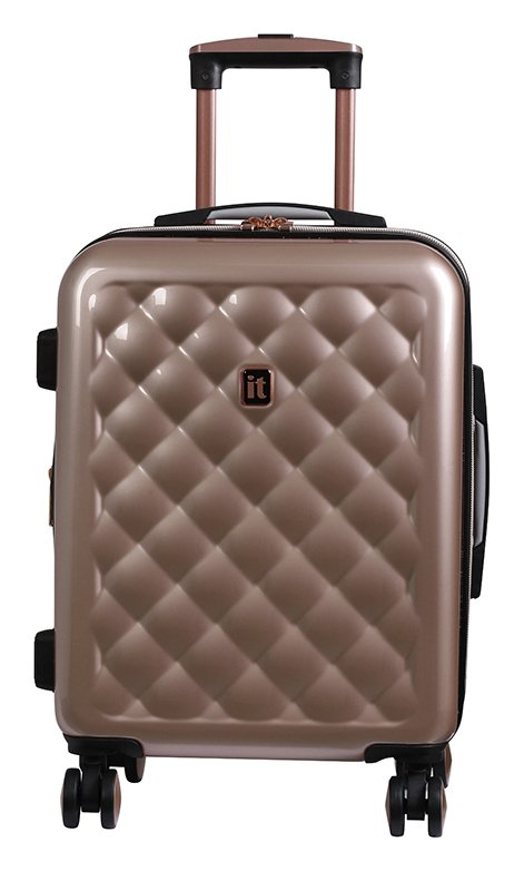 it Luggage Expandable 8 Wheel Hard Cabin Suitcase Rose Gold