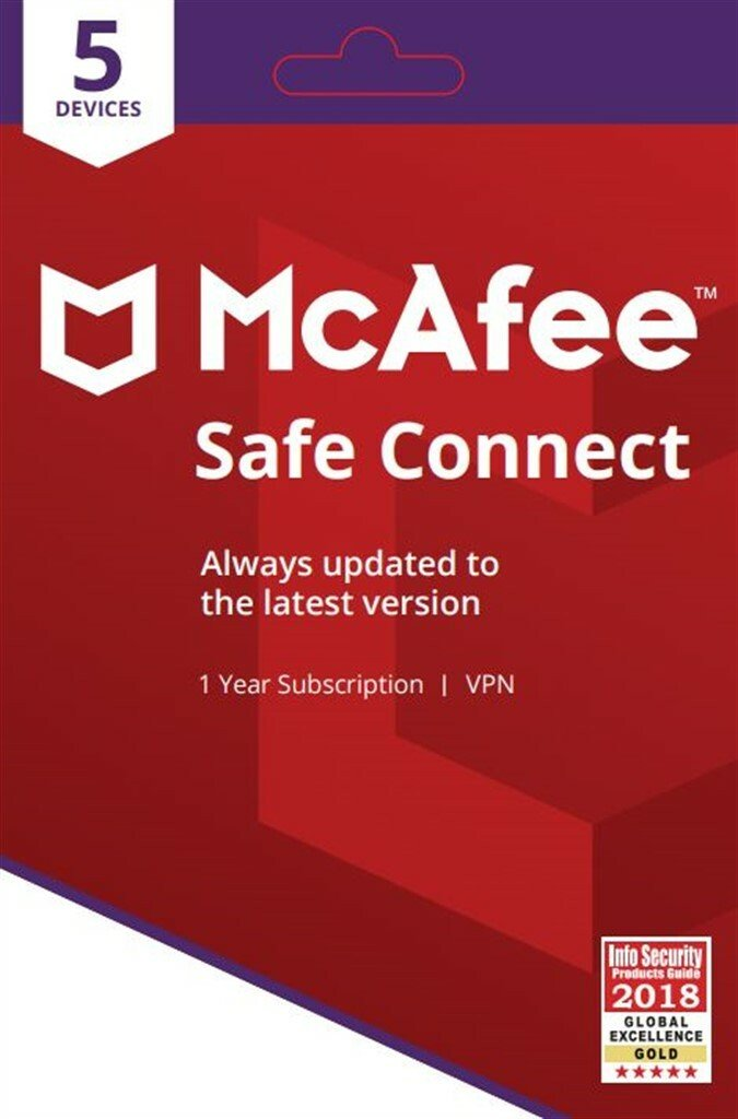 McAfee Safe Connect Premium VPN Mobile Security 1 Year
