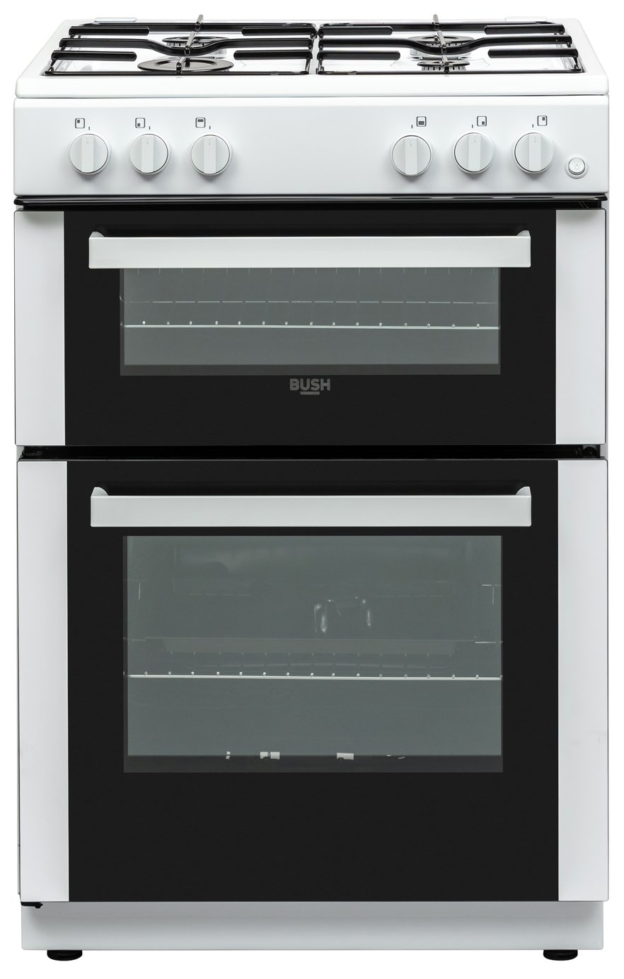 Bush BGC60DW 60cm Double Oven Gas Cooker - White Best Price, Cheapest Prices