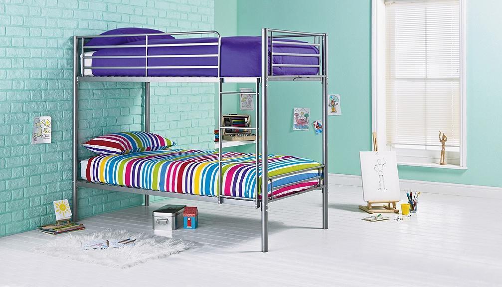 Argos Home Samuel Silver Bunk Bed & 2 Kids Mattresses