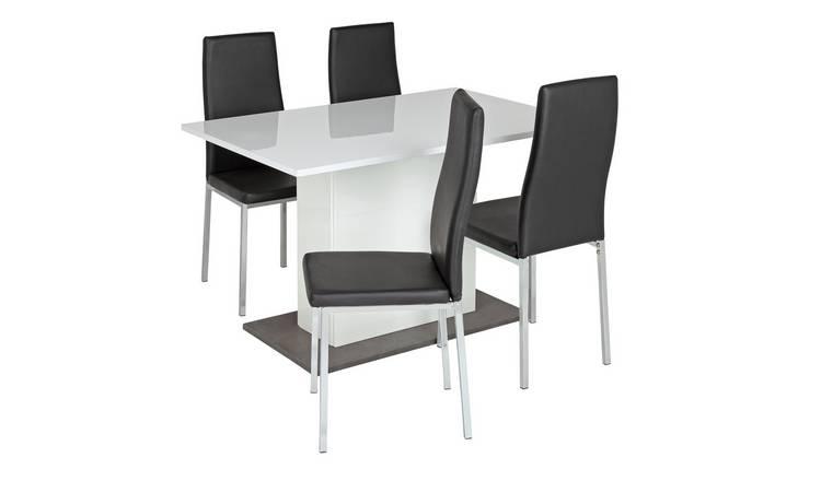 39b7089c2a1e Buy Argos Home Holborn Gloss Pedastal Table   4 Chairs - Black ...