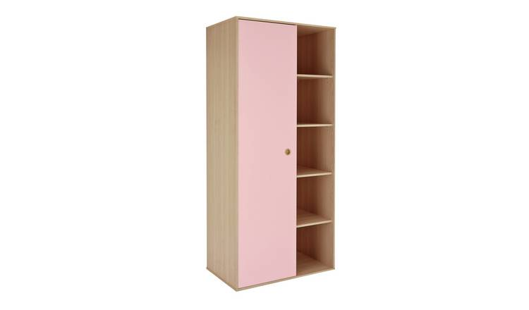 Argos Home Camden 1 Door Shelved Wardrobe - Pink and Acacia