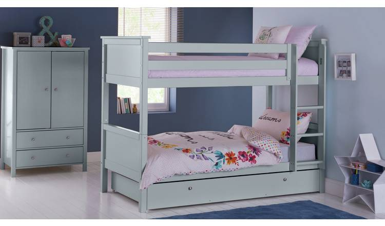 Argos Home Brooklyn Bunk Bed, Drawer and Kids Mattress -Grey