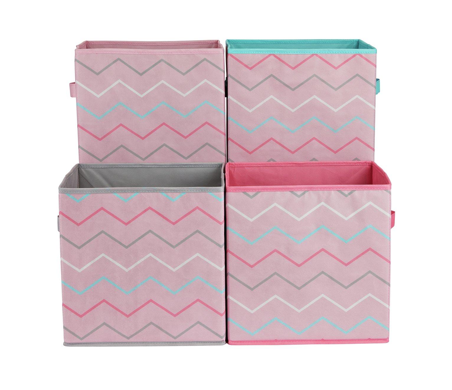 Argos Home Set of 4 Zig-Zag Canvas Boxes