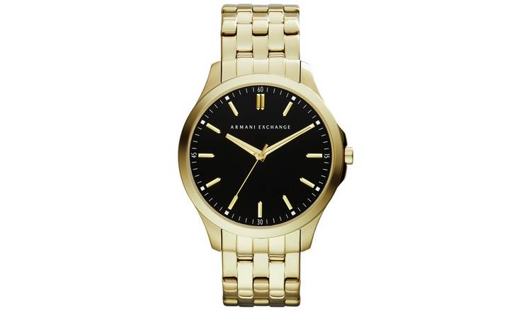 Armani Exchange Black Dial Gold Coloured Watch