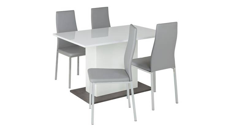 Buy Argos Home Holborn White Gloss Dining Table 4 Grey Chairs Dining Table And Chair Sets Argos