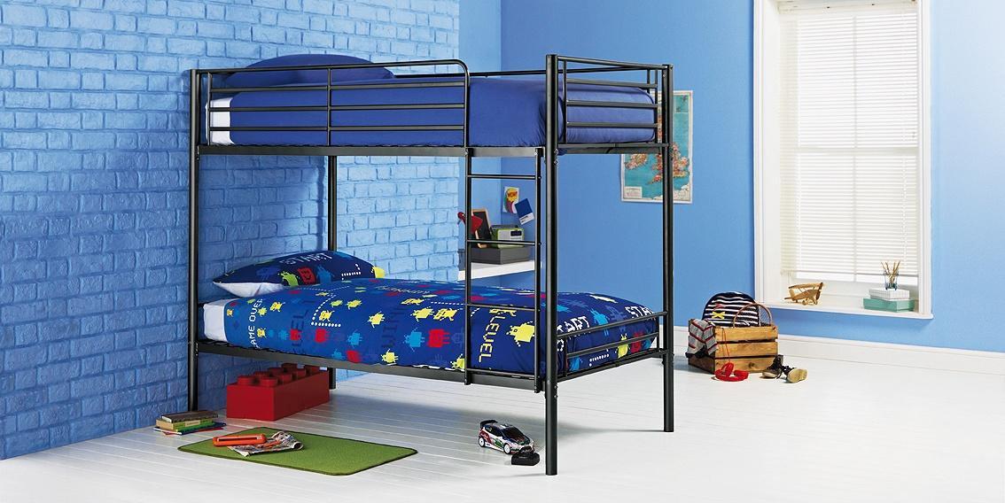 Argos Home Samuel Black Shorty Bunk Bed & 2 Mattresses