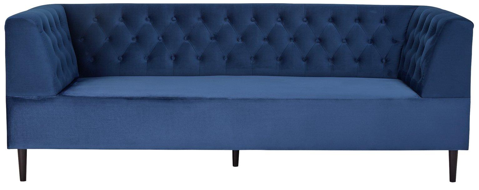 Habitat Blake 3 Seater Velvet Sofa - Navy
