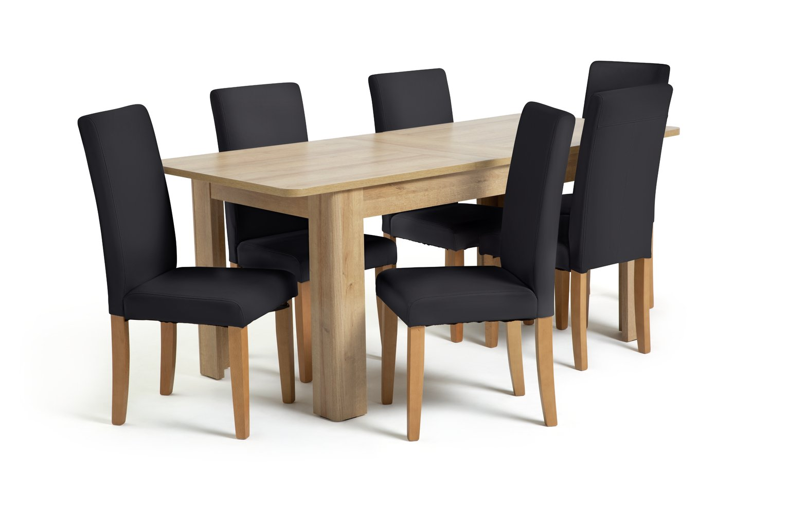 2563b4aa285b Argos Home Miami Curve Extendable Table   6 Chairs - Black - Female First  Shopping