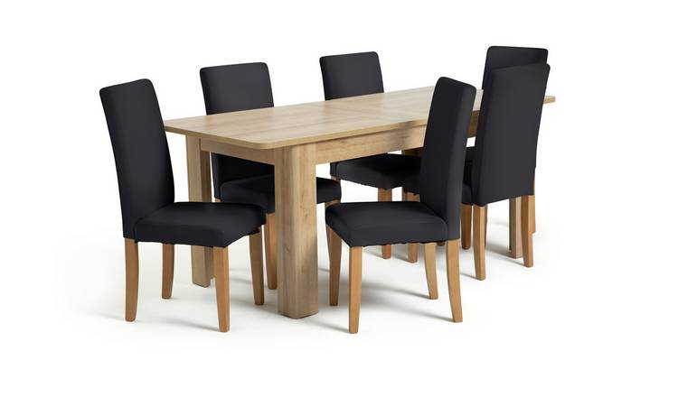 Habitat Miami Curve Extending Table & 6 Black Chairs