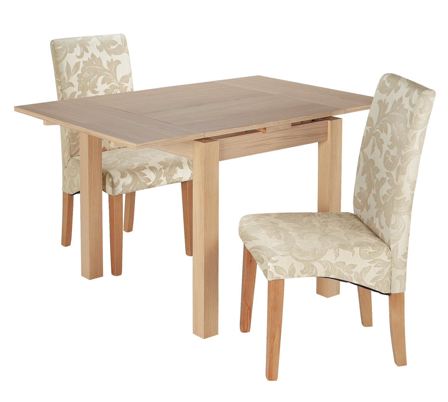 Argos Home Clifton Extending Table & 2 Cream Damask Chairs