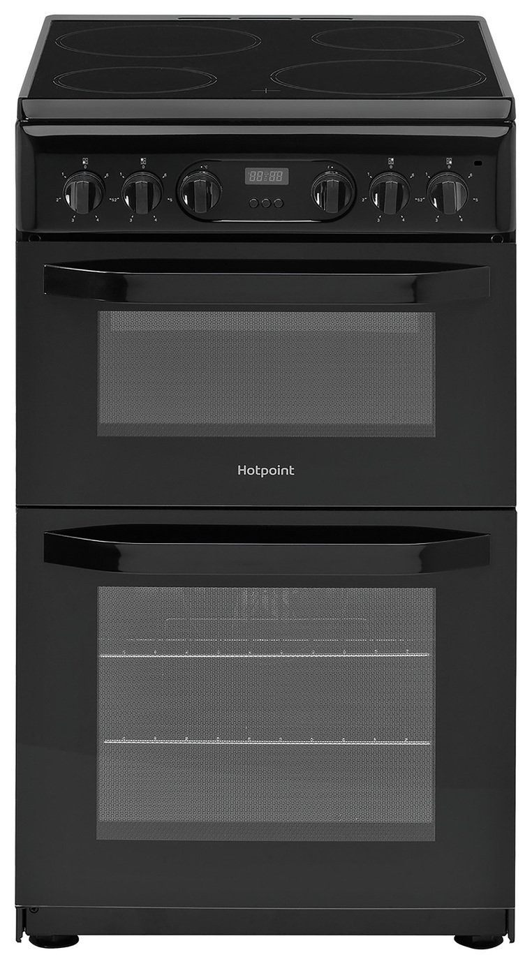 Hotpoint HD5V93CCB 50cm Double Oven Electric Cooker - Black Best Price, Cheapest Prices