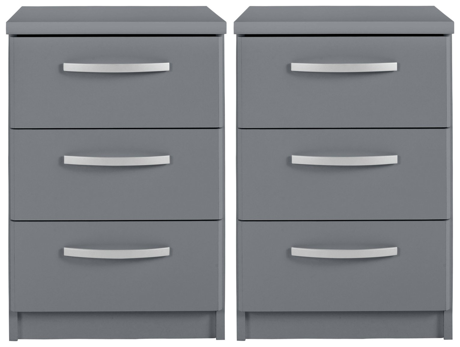 Argos Home Hallingford Gloss 2 Bedside Tables Set - Grey