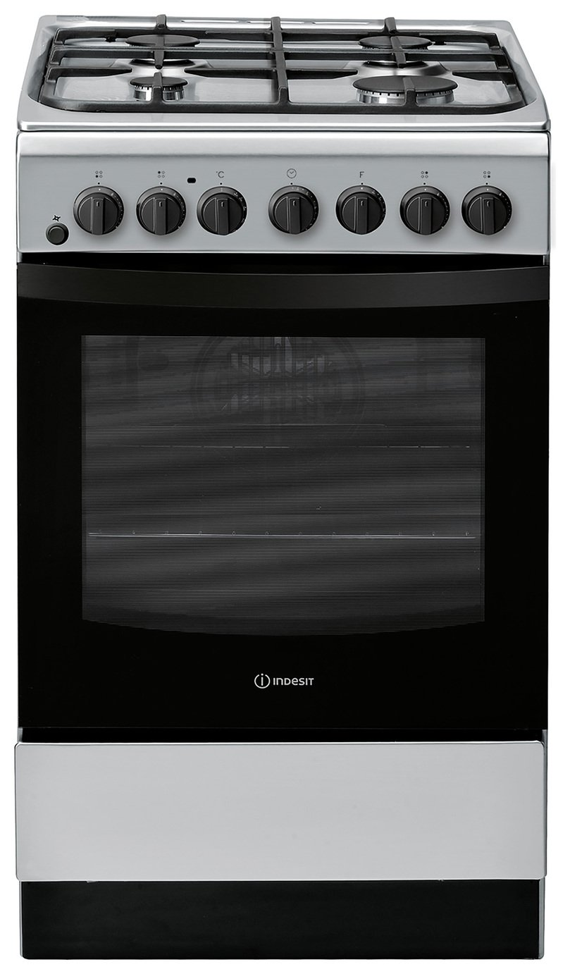 Indesit IS5G4PHSS Single Dual Fuel Cooker - Graphite