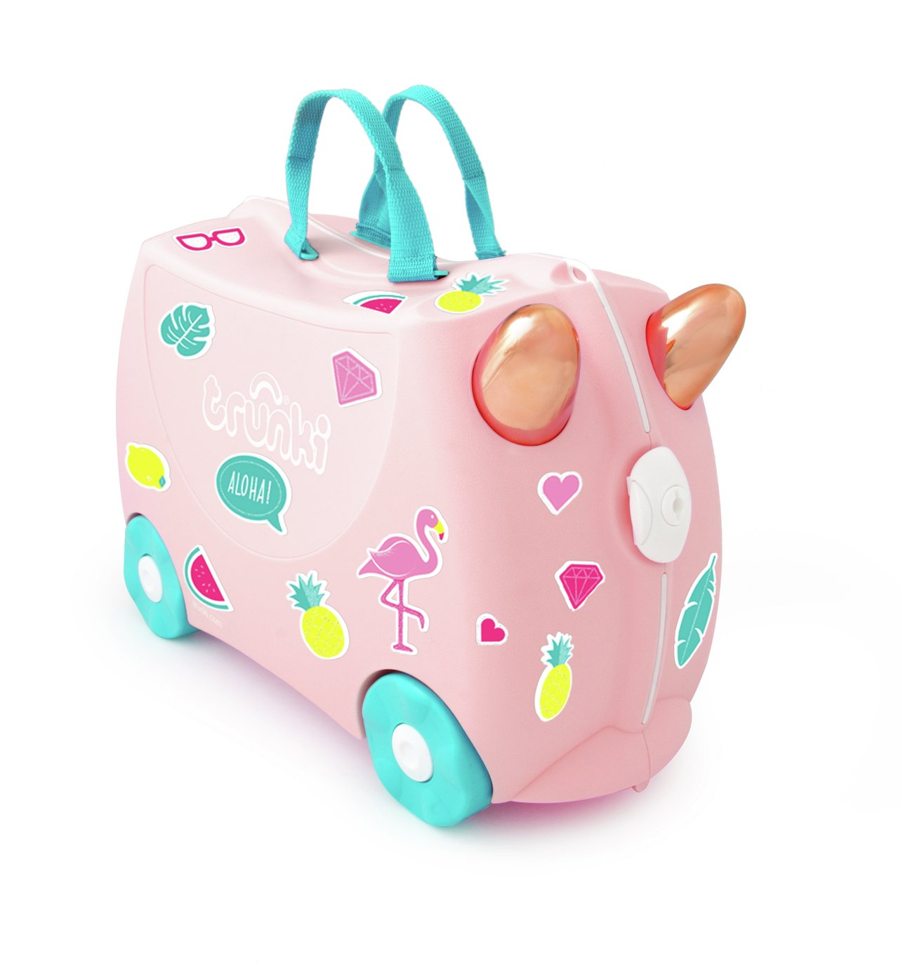 Trunki Flossi Flamingo 4 Wheel Hard Ride On Suitcase - Pink
