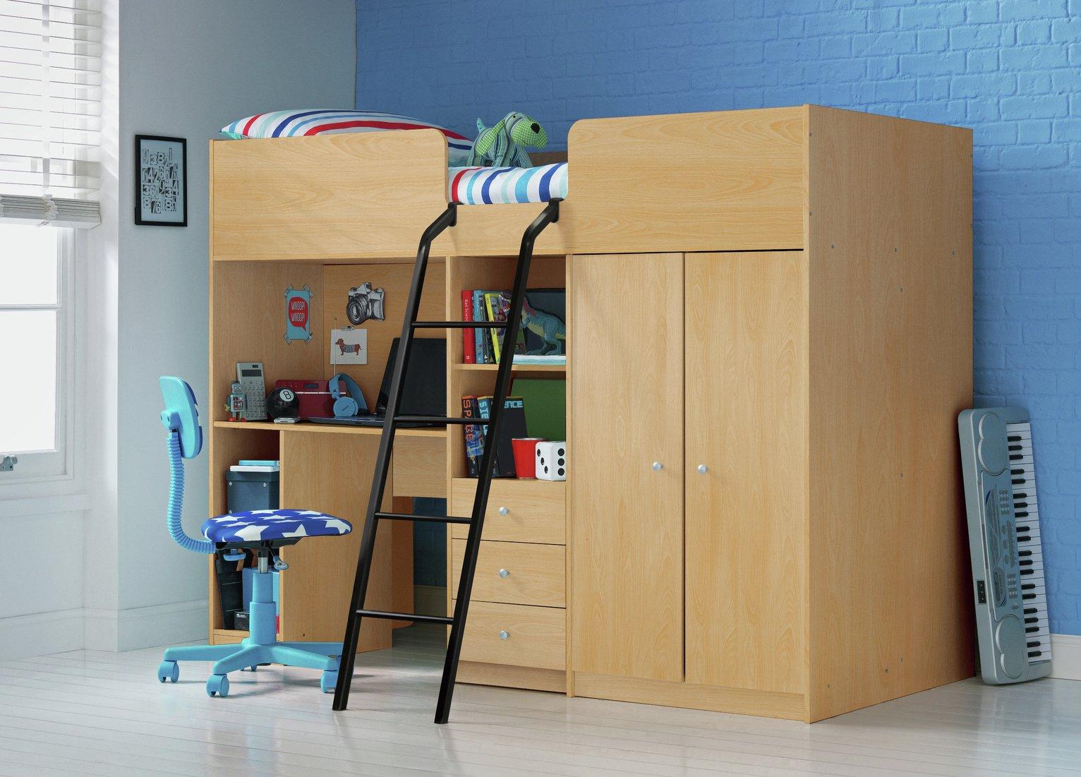 Argos Home Ohio Beech Shorty High Sleeper & Kids Mattress
